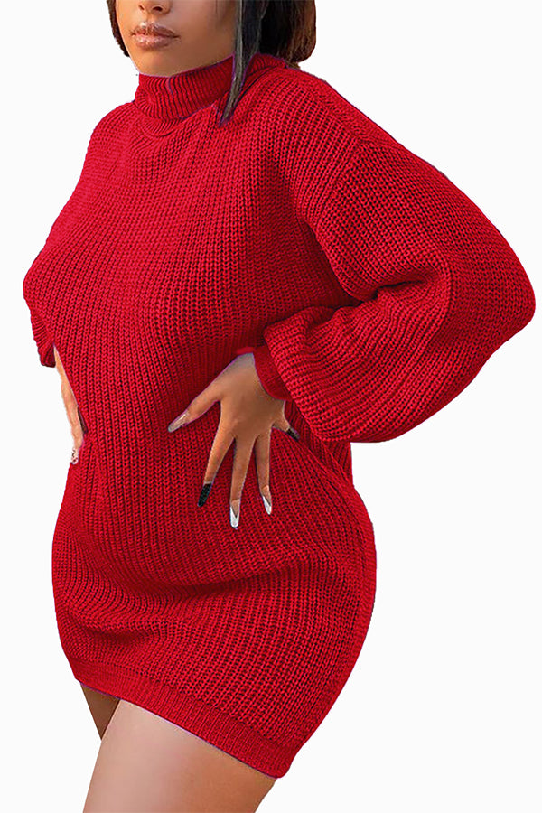 Long Sleeve High Neck Red Sweater Dress For Womens