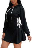Womens Long Sleeve Mini Black Hoodie Dress