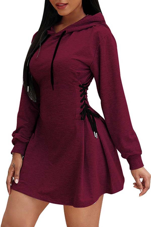 Lace Up Long Sleeve Mini Dress With A Hood