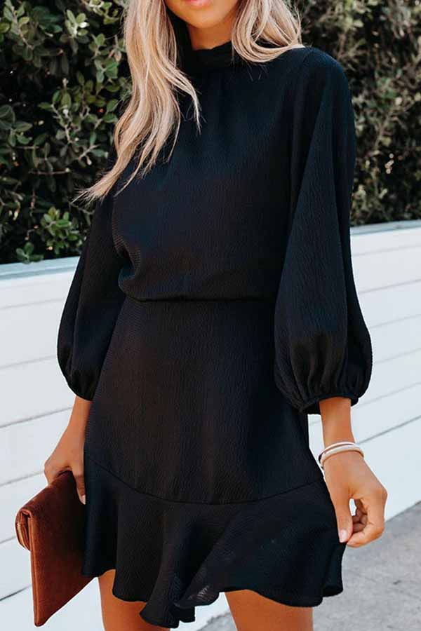 Mock Neck Ruffle Lantern Sleeve Midi Dress