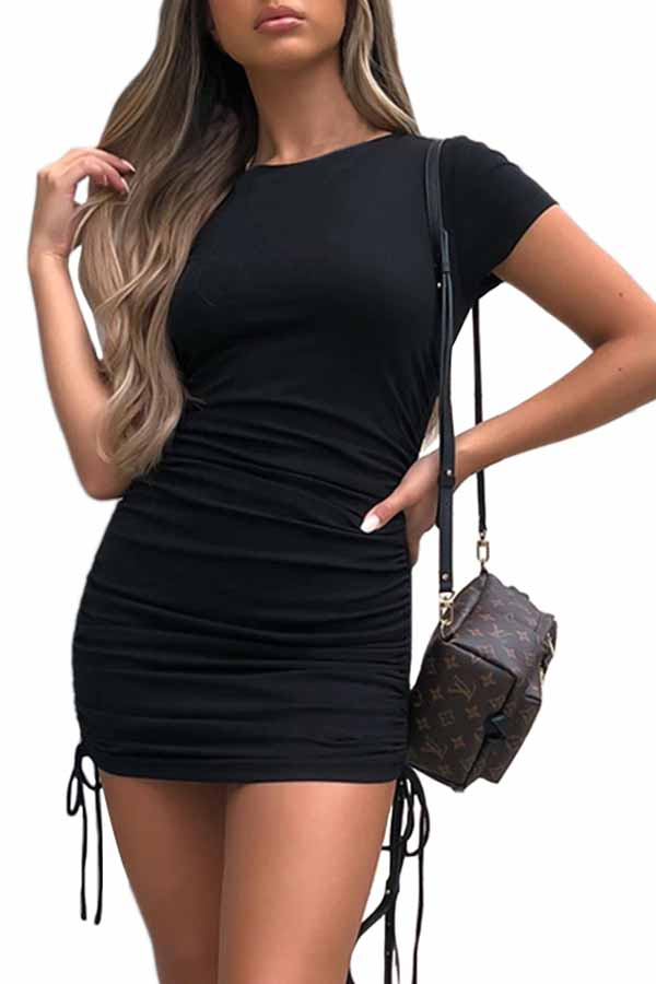 Short Sleeve Cinched Black Bodycon Dress
