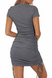 Short Sleeve Ruched Sexy Bodycon Dress