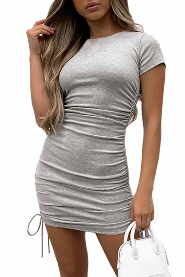 Solid Crew Neck Ruched Bodycon Mini Dress