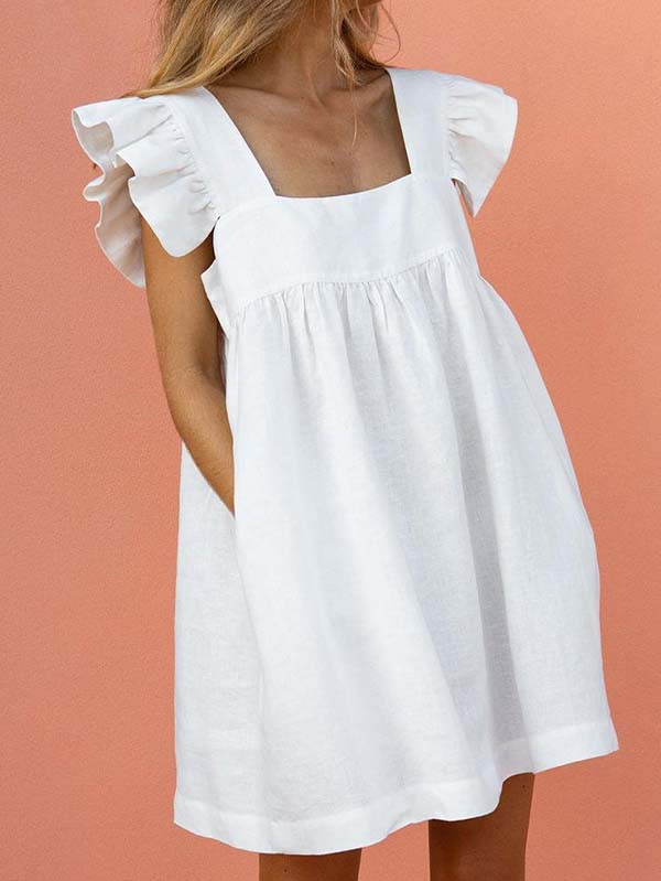 Square Neck Ruffle Sleeve Pleated Babydoll Dress With Pockets