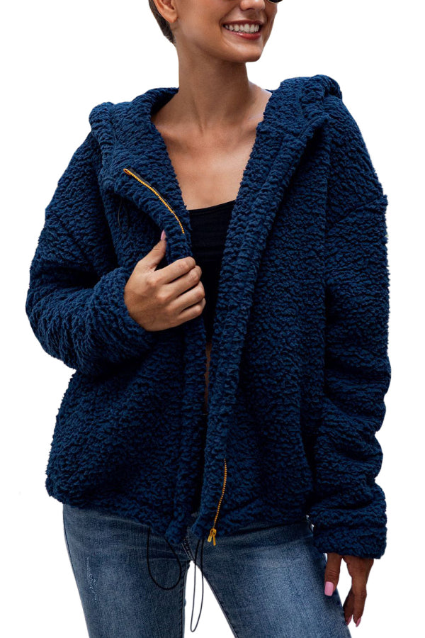 Solid Sherpa Jacket For Women Sapphire Blue