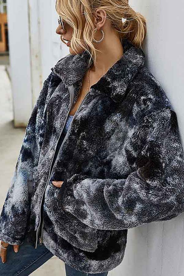 Zip Up Winter Tie Dye Teddy Jacket