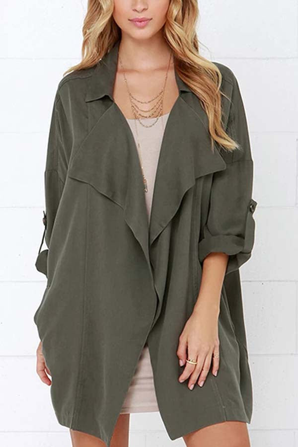 Notched Collar Solid Open Front Coat