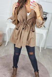 Drawstring Waist Short Trench Coat