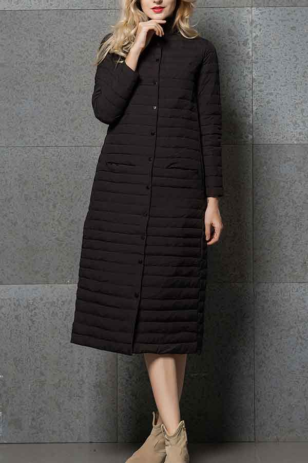 Black Long Puffer Jacket Women With Button Down