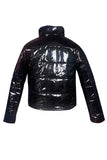 Pu Leather Black Puffer Jacket Women