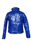 Women Zipper Patent Leather Puffer Coat Sapphire Blue