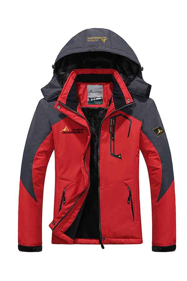 Windproof Womens Parka Coats Lined Winter Jacket Red
