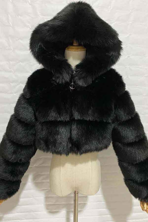 Womens Faux Fur Crop Jacket With Hood Black