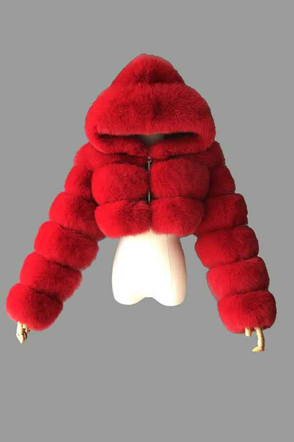 Womens Winter Faux Fur Fluffy Coat With Hood Red