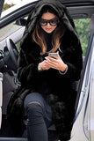 Furry Long Coat Faux Fur Hood Jacket Black