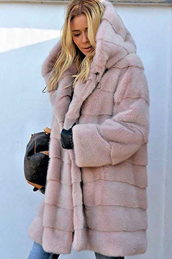 Luxury Warm Long Faux Fur Coat With Hood Pink