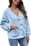 V Neck Fleece Ladies Cardigans With Pocket