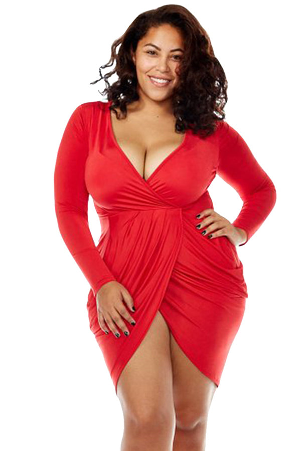 Sexy Deep V Neck Long Sleeve Plus Size Club Dress Red