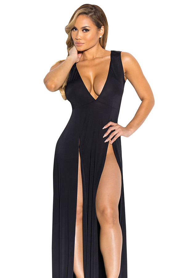 Sexy V Neck Slit Front Sleeveless Maxi Black Club Dresses