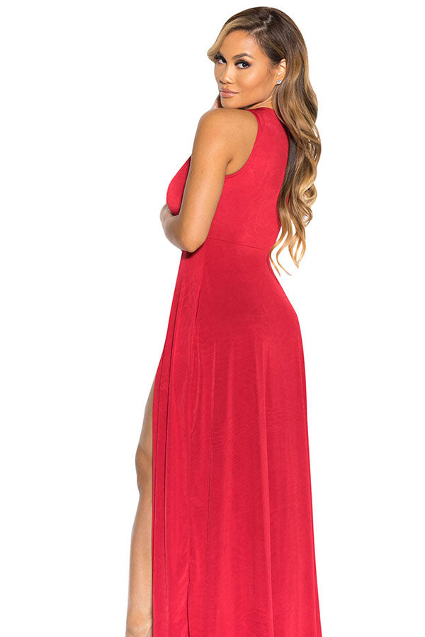 Sexy V Neck Slit Front Sleeveless Maxi Red Club Dresses