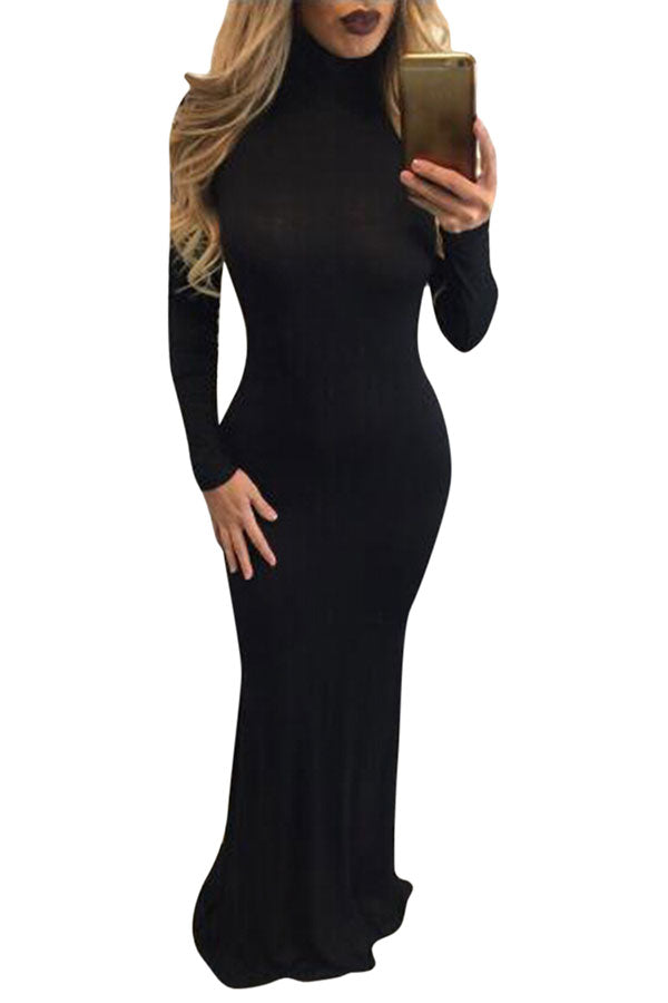Women's Turtleneck Long Sleeve Plain Bodycon Maxi Dress Black