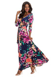 Boho V Neck 3/4 Sleeve Tie Waist Floral Print Wrap Maxi Dress