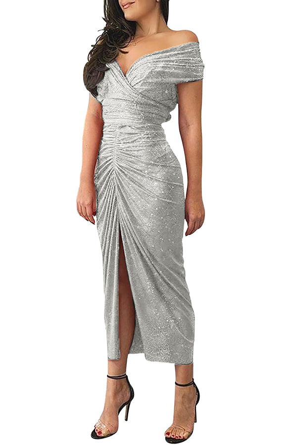 Glitter Slit Off Shoulder Party Dress Silvery