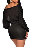 Long Sleeve Wrap Neck Glitter Sexy American Clubwear Mini Dress Black