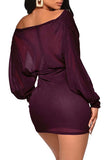 Plunging Neck Glitter Bodycon Sexy Club Dresses Dark Purple