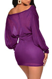 Long Sleeve V Neck See Through Ruched Sexy Bodycon Club Dress Purple