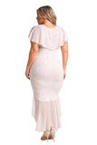 V Neck Plus Size Ruffle Plain Lace Hem Mermaid Bodycon Maxi Dress White