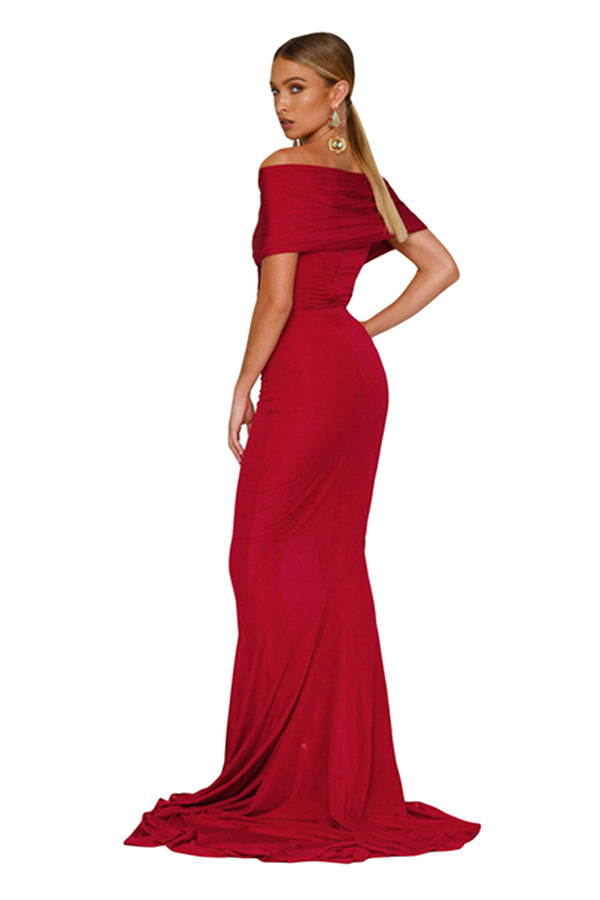 Women Elegant Off-Shoulder Mermaid Wedding Party Gown Dress Red