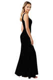 Square Neck Evening Dress High Split Black