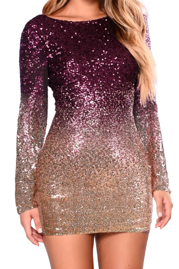 Backless Ombre Sequin Dress Burgundy