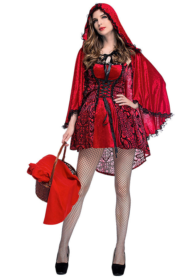 Womens Glamorous Halloween Little Red Riding Hood Costume Red