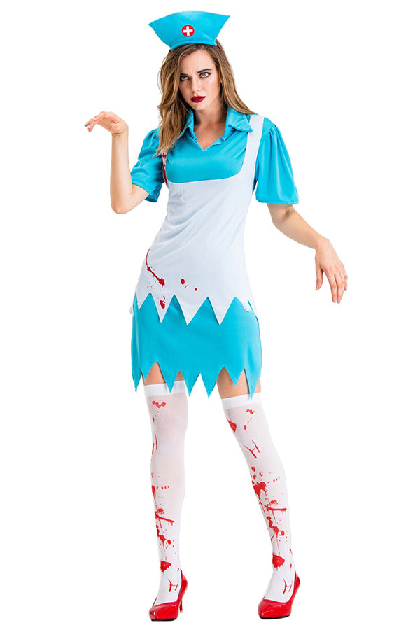 Halloween Zombie Bloody Nurse Womens Costume