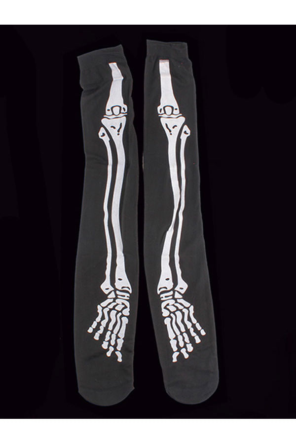 Skeleton Print High Socks Halloween Stockings Black