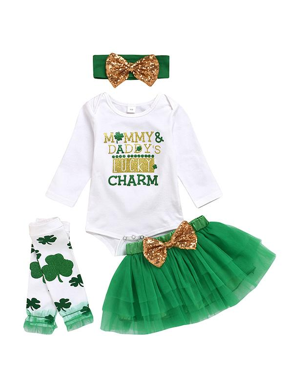 Baby Girls Shamrock Tutu Skirt St. Patricks Day Outfit