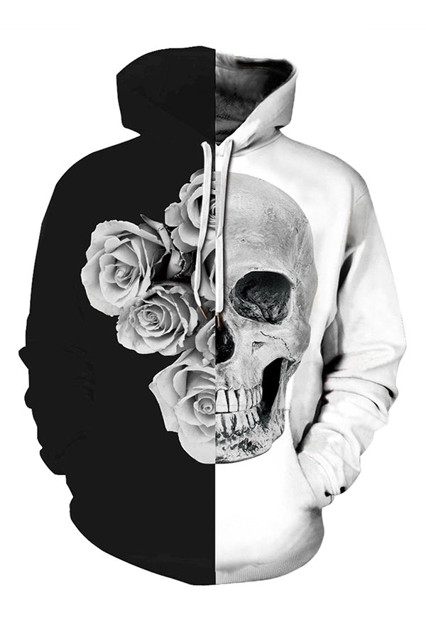 Plus Size Color Block Rose Skull Halloween Hoodie