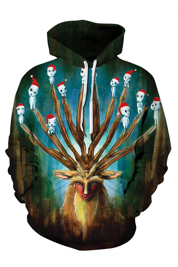 Plus Size 3D Print Deer God Christmas Hoodie Turquoise