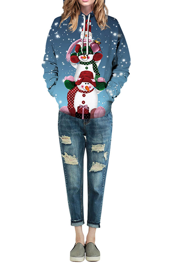 Plus Size Funny Christmas Snowman Hoodie Ruby