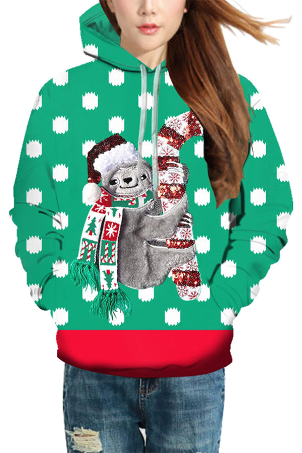 Christmas Sloth Pullover Hoodie Emerald Green