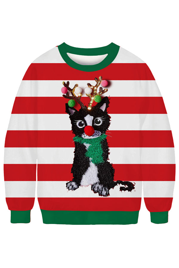Striped Christmas Cat Sweatshirt Red