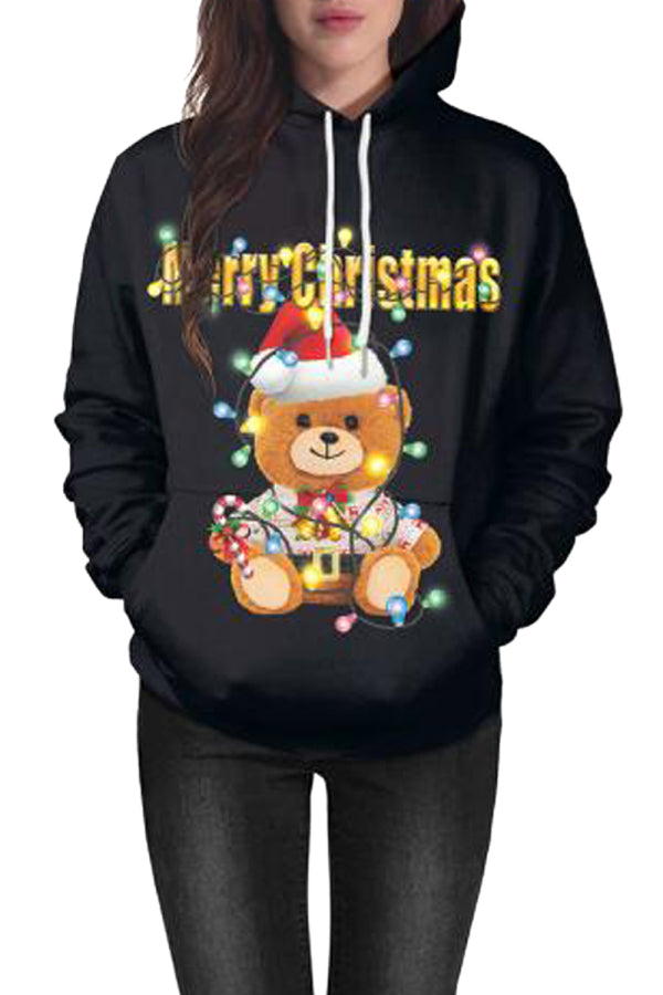 Long Sleeve Bear Print Christmas Hoodie Black