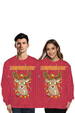 Reindeer Two Person Christmas Sweatshirt Burgundy