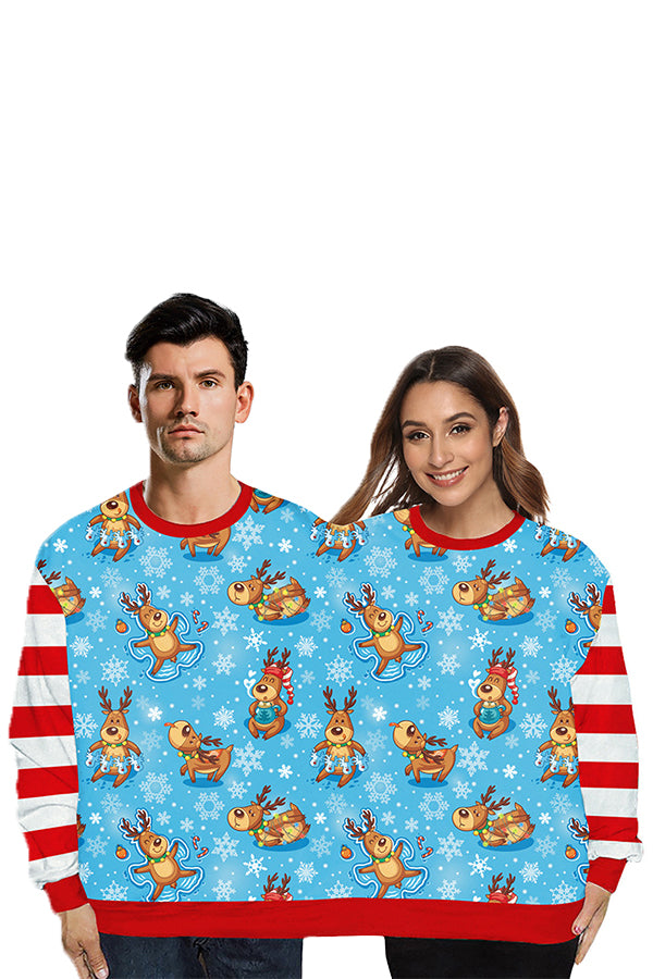 Striped Christmas Reindeer Couple Sweatshirt