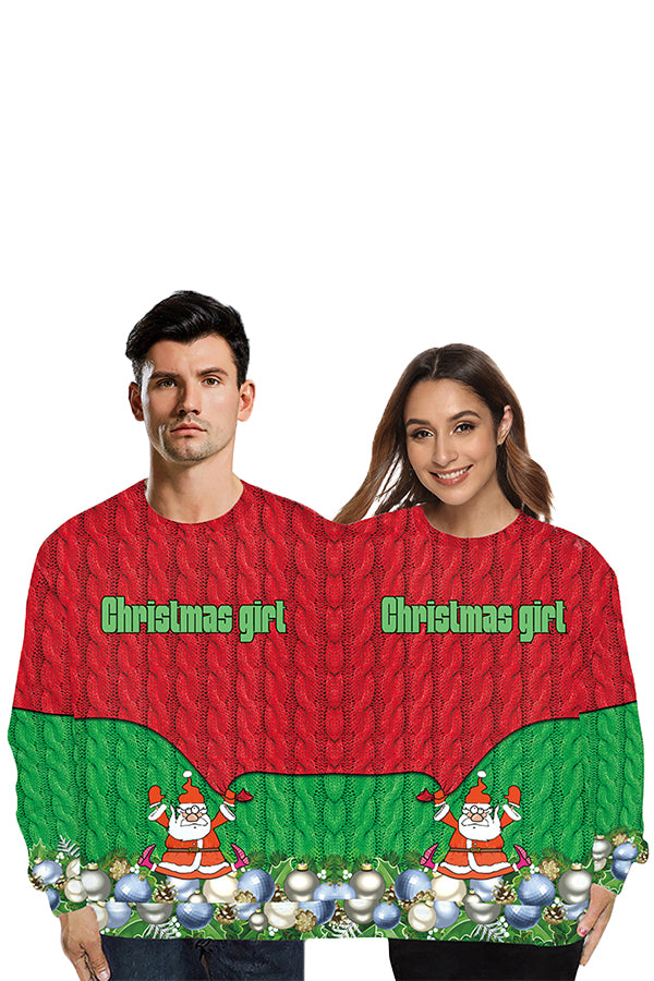 Christmas Santa Two Person Sweatshirt Ruby