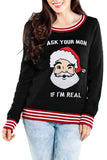 Crew Neck Striped Funny Santa Sweatshirt Black