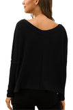 Dolman Sleeve Plain V Neck Crop Top Black