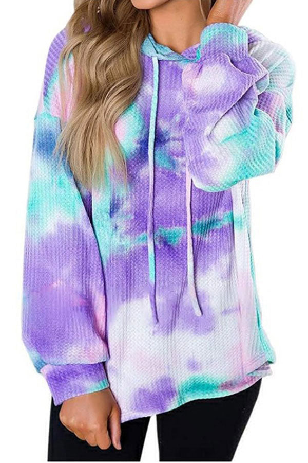 Casual Long Sleeve Tie Dye Hoodie Sweatshirt Dark Purple